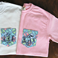 Monogrammed Vineyard Vines Inspired Pocket T Shirt