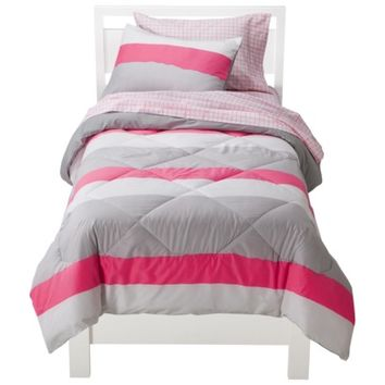 Room Essentials® Torn Stripe Bed in a Bag - Pink/Gray (Twin/XL)