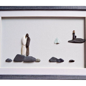 Beach wedding pebble art, Unique wedding gift for couple, Nautical wedding or engagement gift, Wedding framed art, Bridal shower gift idea