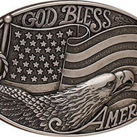 Nocona Oval God Bless America Flag Belt Buckle