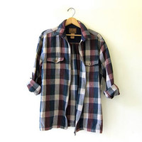 Vintage plaid boyfriend flannel / Zip up jacket / Grunge Shirt