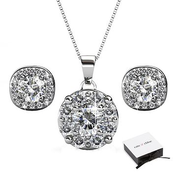 "Ruth ""Protector"" 18k White Gold Swarovski Crystal Earrings and Necklace Jewelry Set"