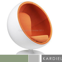 BALL CHAIR White Fiberglass/Orange Microfiber Globe Egg Swan Womb Lounge Accent