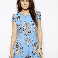 Blue Floral Print Short-Sleeve Zipper Back Romper