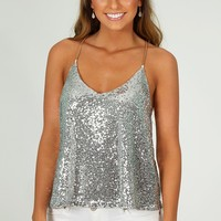 Silver Shaker Sequin Tank: Silver - What's New