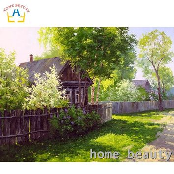 HOME BEAUTY diy oil painting by numbers landscape trees decorative canvas painting calligraphy coloring by number Y089