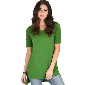 GREEN SIDE SLIT TUNIC TOP