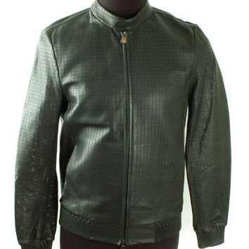 Green Perforated Leather Jacket