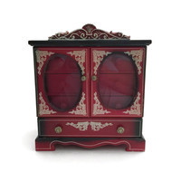 Wooden Red and Black Jewelry Box Made in Japan