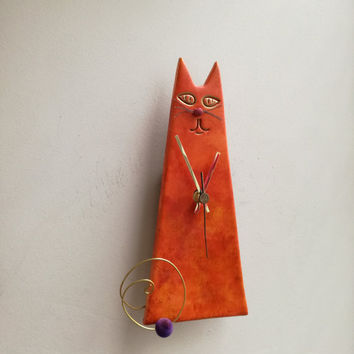 Orange cat clock, ceramic wall clock of orange red cat, cone shaped cat clock, sitting cat clock, nursery decor clock, veterinarian clock