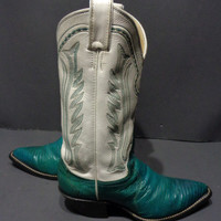 Justin Green White Lizard Skin Cowboy Boot Women's Size 6