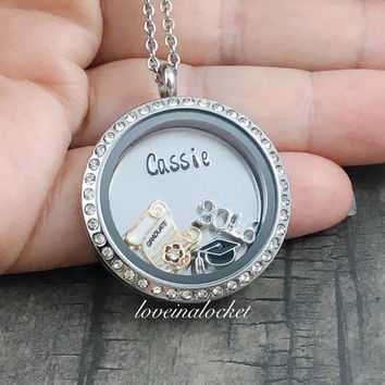 listing necklace compass il silver mcua graduation sterling
