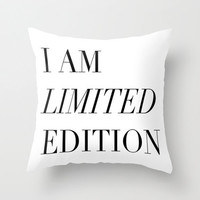 Black and White Pillow - I Am Limited Edition - Modern Decorative Pillows - Velveteen Pillow Cover - Modern Pillows - Gift Ideas for Women