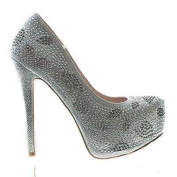 Kinko5 By De Blossom, High Heel Stiletto Pump Rhinestone Studded Closed Toe Women Shoe