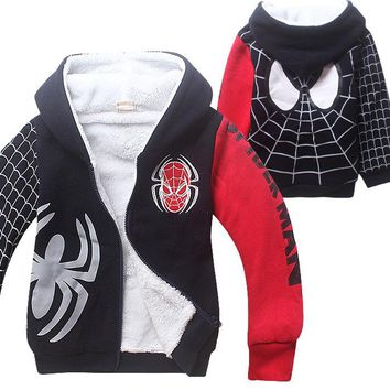 New Spiderman Baby Boys Clothing Winter Coat Cotton Jackets Sport Suit Kids Girl Hooded Christmas Spider Man Cosplay Costumes