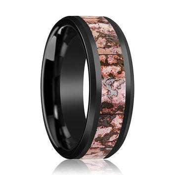 Dinosaur Bone Ring - Pink Dinosaur Bone Inlay - Ceramic Wedding Band - Beveled - Polished Finish - 4mm - 8mm - Ceramic Wedding Ring