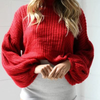 Autumn and winter knitted sweater women's lantern sleeves loose sweater women