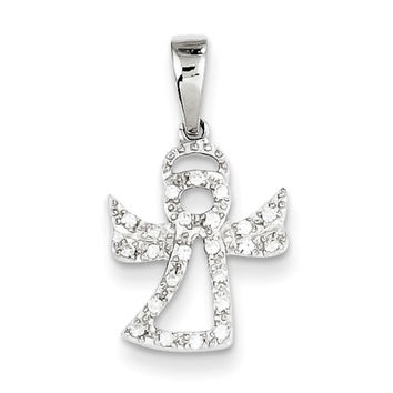 925 Sterling Silver CZ Stone Angel Silhouette Girls Fashion Pendant