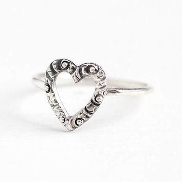 Antique Victorian Sterling Silver Heart Stick Pin Conversion Ring - 1900s Size 5 1/2 Dainty Romantic Symbolic Love Jewelry
