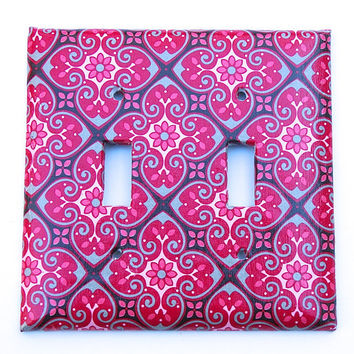 Double Light Switch Plate Cover- Rose/Pink/Gray Tile Print