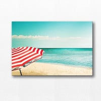 beach photography canvas wrap 12x18 24x36 fine art photography ocean canvas gallery wrap large canvas print beach umbrella photography teal