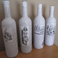 Four Alice in Wonderland Upcycled Wine by Greencycledesigns