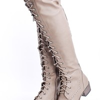 BEIGE FAUX LEATHER LACE UP FLAT OVER THE KNEE RIDING BOOTS