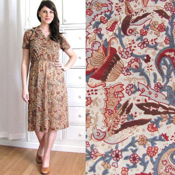 70s Bird Dress / 1970s 40s Dress / Paisley Dress by Coldfish