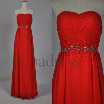 Custom Red Beaded Long Bridesmaid Dresses 2014 Prom Dresses Fashion Party Dresses Chiffon Evening Gowns Homecoming Dress Quinceanera Dress