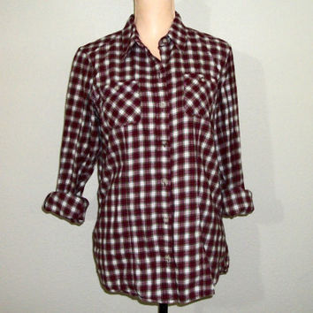 Womens Plaid Shirt Size Large Grunge Flannel Shirt Long Sleeve Button Up Red White Western Camping Eddie Bauer FREE SHIPPING Womens Clothing