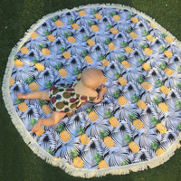 Cool Chiffon Round PIneapples Beach/Yoga Chiffon Towel