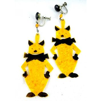 Vintage Art Deco Celluloid Cat Earrings Amber & Black 2 1/2""