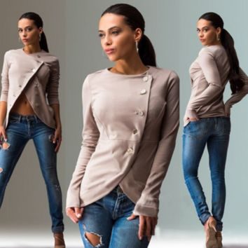 Women's Fashion  Side Button Fitted Blazer Top 3 solid colors