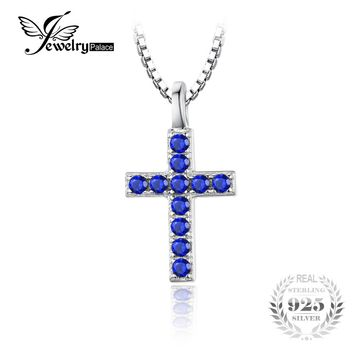 JewelryPalace 0.18 ct Created Blue Spinel Cross Pendant 925 Sterling Silver Charms Brand Women Trendy Fine Jewelry Without Chain