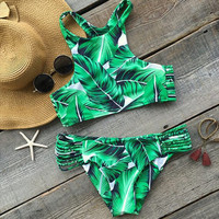 Sexy Fashion Green Leaf Print Halter Beach Bikini Set Swimsuit Swimwear