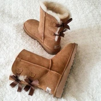 UGG:: bow leather boots boots in tube Pink G-2