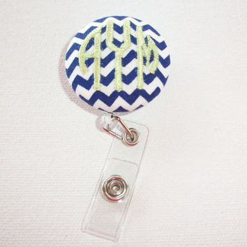 Retractable ID Badge Holder Reel - Fabric Button - Chevron with monogram 3 circle initial custom