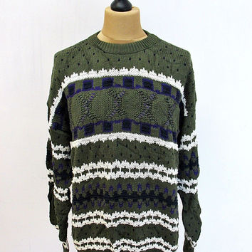 Vintage 90s Green Purple Pattern Shaker Knit Jumper Sweater Large