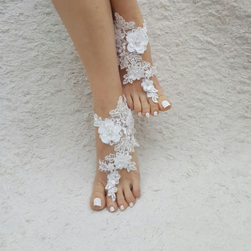 barefoot sandals, ivory Beach wedding shoes,  Elegant barefoot, bangle beach anklets, barefoot sandals, bridal bride bridesmaid, Free ship