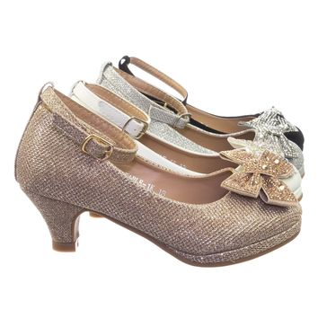 Fable1K Children Girls Block Heel Round Toe Dress pump w Rhinestone Crystal Bow