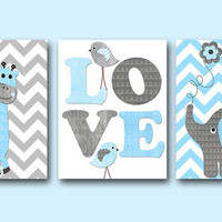 "Elephant Giraffe Baby Boy Nursery art print Childrens Wall Art Baby Room Decor Kids Print set of 3 8"" x 10"" elephant giraffe gray blue love"