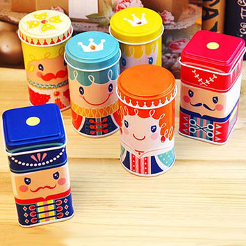 1pcs cute happy kingdom Tea caddy receive box candy storage box wedding favor tin box cable organizer container household 6color