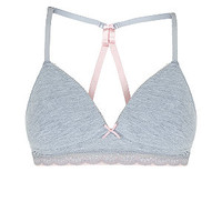 Teens Grey Non Wired Racer Back Bra