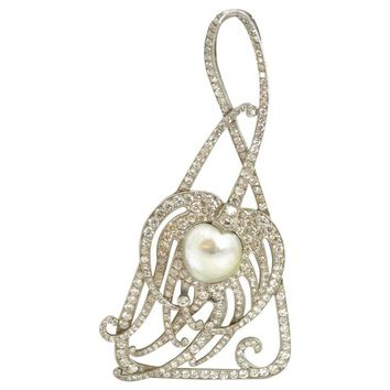 Antique Tiffany & Co. Peacock Feather Pearl Diamond platinum Pendant