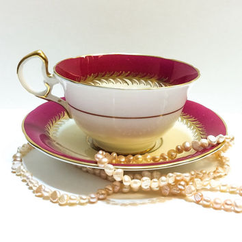 Antique Aynsley Tea Cup and Saucer, Deep Red, Gold, Roses, 1930s, Bone China, English China