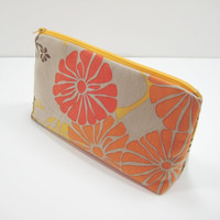 Cosmetic Bag, Zippered Accessory Pouch, Cosmetic Case, Orange and Red Floral Tapestry Print, Ready to Ship