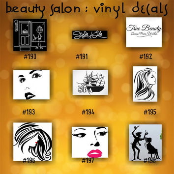 BEAUTY SALON vinyl decals - 190-198 - personalizable vinyl stickers - custom car window stickers - car decal - car sticker