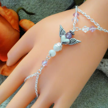 Gemstone Angel Infinity Ring, Hand Harness, Hand Chain, Finger Bracelet, Body Jewelry, Body Chain, Finger Chain