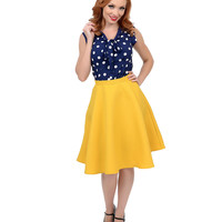 Mustard Yellow High Waisted Diamond Quilted Flare Skirt