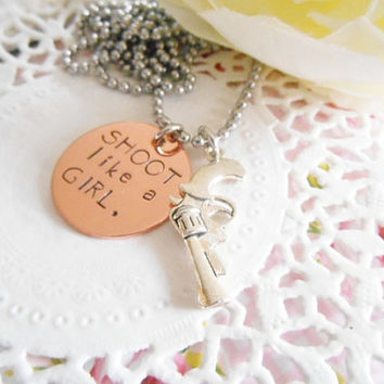 Shoot Like A Girl Copper Hand Stamped Necklace With Gun Charm